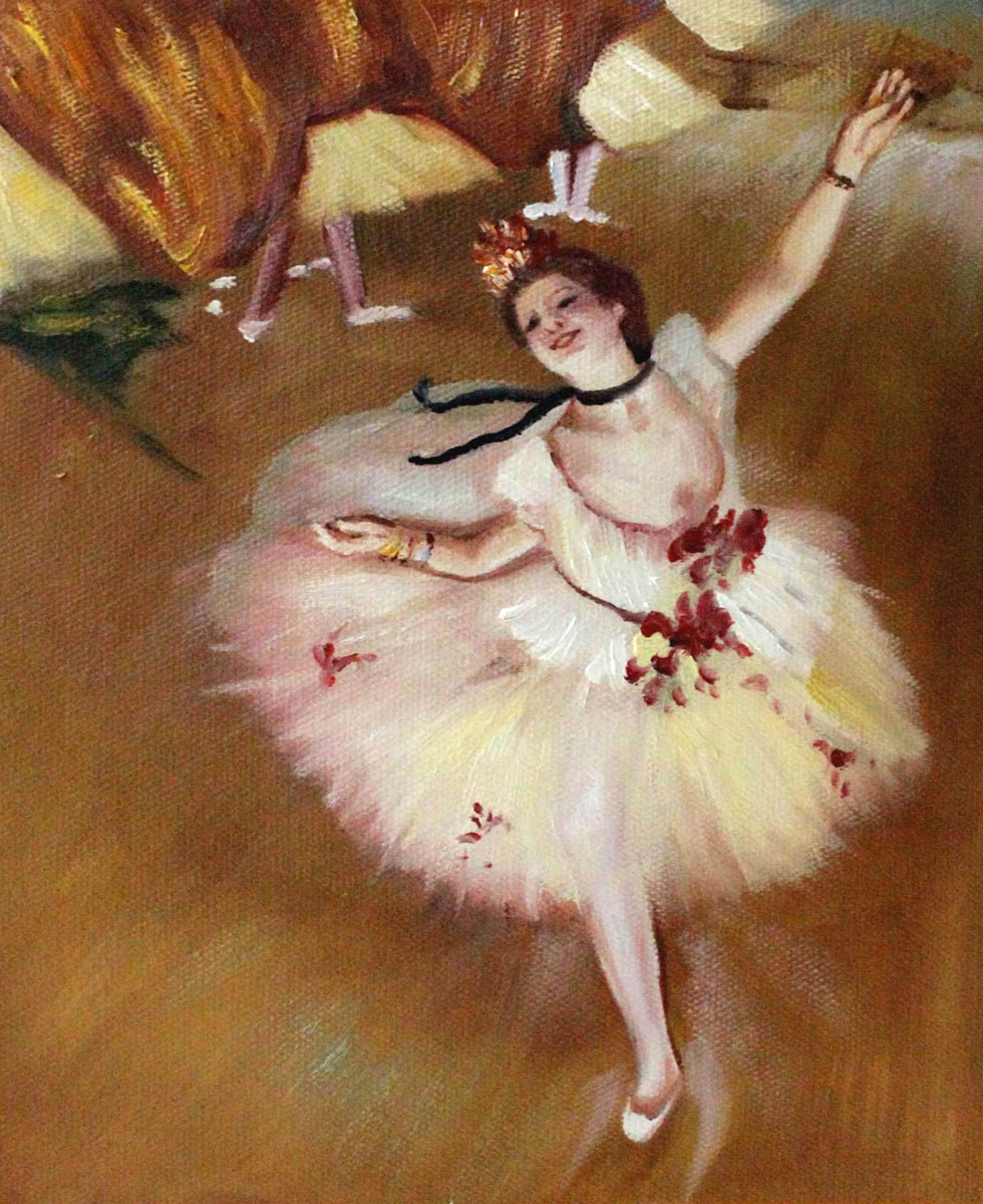 US $72.89 10% OFF|Hand Painted Edgar Degas Ballet Paintings Star Dancer (On Stage) Famous Oil Reproductions Canvas Wall Painting Vertical in Painting