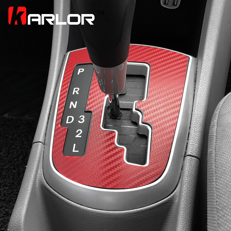 Carbon Fiber Protection Gear Shift Knob Panel Sticker Cover Case Film Decal Car Styling For Hyundai Solaris Verna Accessories gear shift
