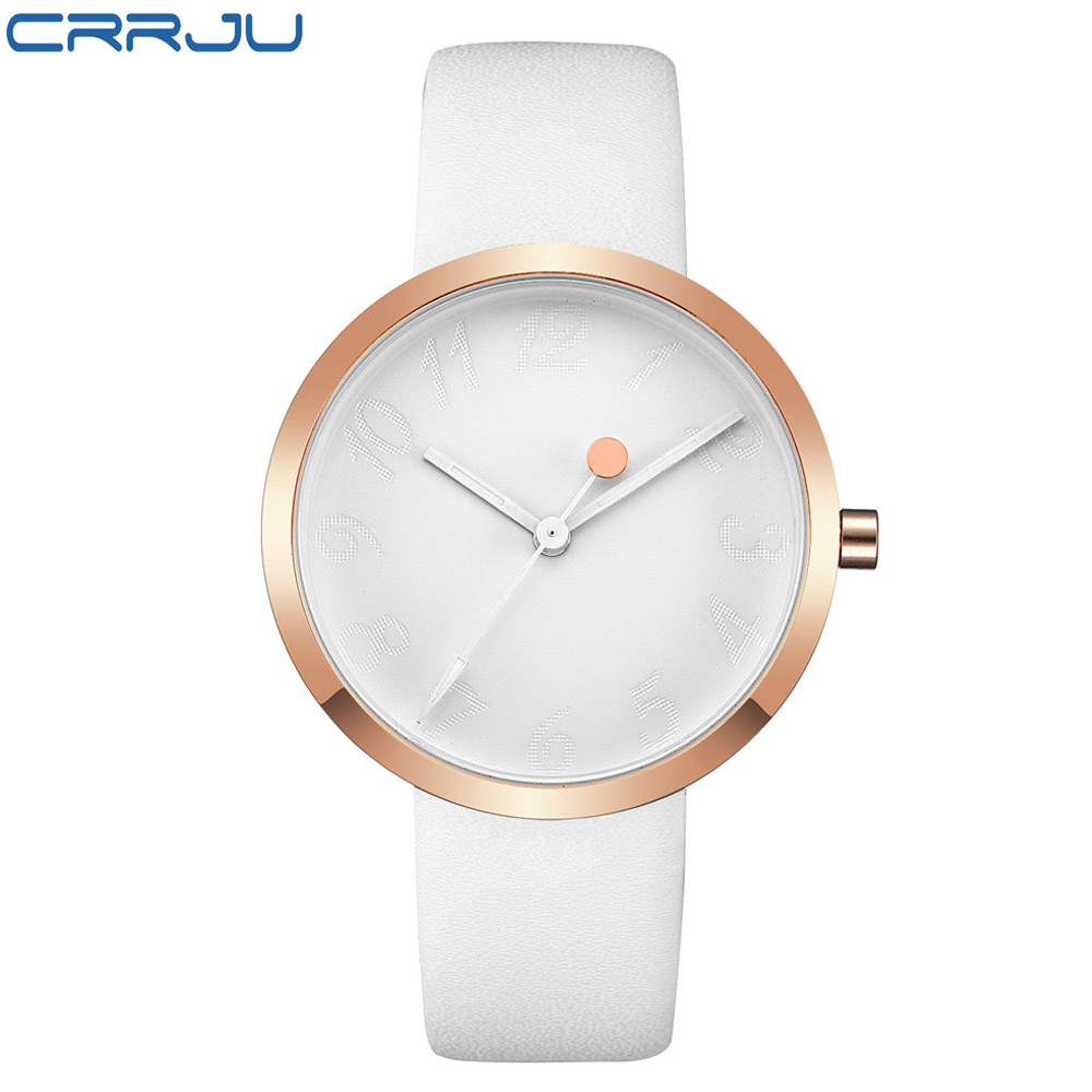 New Arrival CRRJU Leather Strap Quartz Watches Fashion Formal Analog Japan Movement Waterproof Ladies Dress Watch Clock Women
