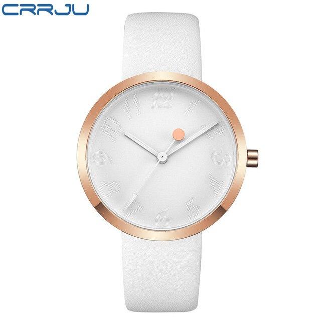 New Arrival CRRJU Leather Strap Quartz Watches Fashion Formal Analog Japan Movem