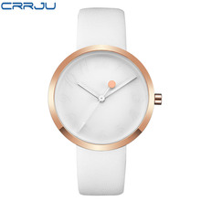 New Arrival CRRJU Leather Strap Quartz Watches Fashion Formal Analog Japan Movement Waterp