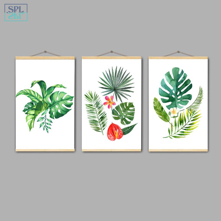 SPLSPL Framed Nordic Style Tropical Rainforest Green Plant Leaf Canvas Art Print Poster Hand Drawn Decorative Wall Picture