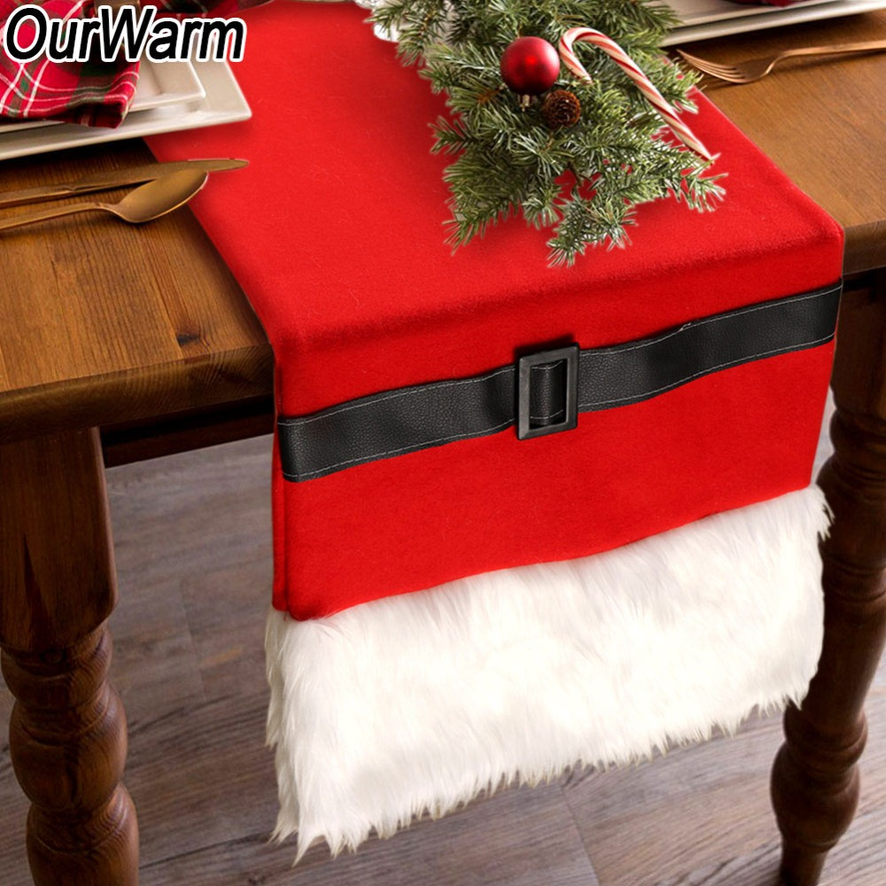 Christmas Table Runner.Us 10 58 43 Off Ourwarm 14x72 Inch Polyester Christmas Table Runner Santa Belt Christmas New Year Decorations For Home Dining Table Decorations In