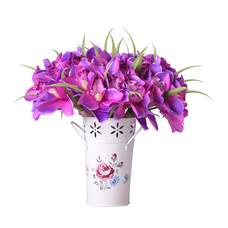 Artificial flowers orchids 12 flower heads pcs orchid silk for Artificial flowers decoration home