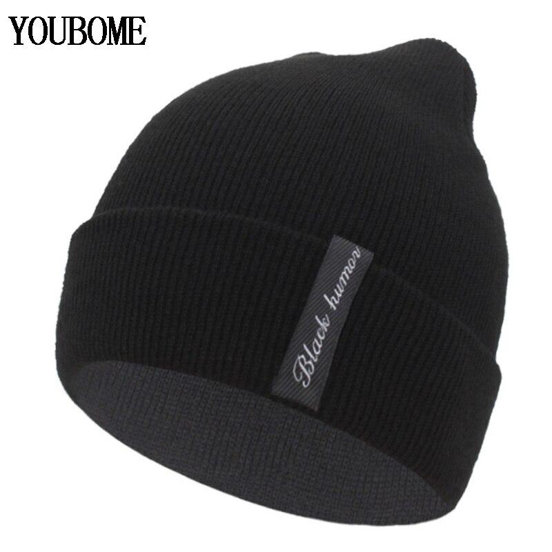 YOUBOME Winter Knitted Hat Women Skullies Beanies Hats For Men Black Solid Warm Soft Gorros Bonnet Female Beanie Winter Hat Cap