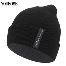 YOUBOME Winter Knitted Hat Women Skullies Beanies Hats For Men Black Solid Warm Soft Gorros Bonnet Female Beanie Winter Hat Cap