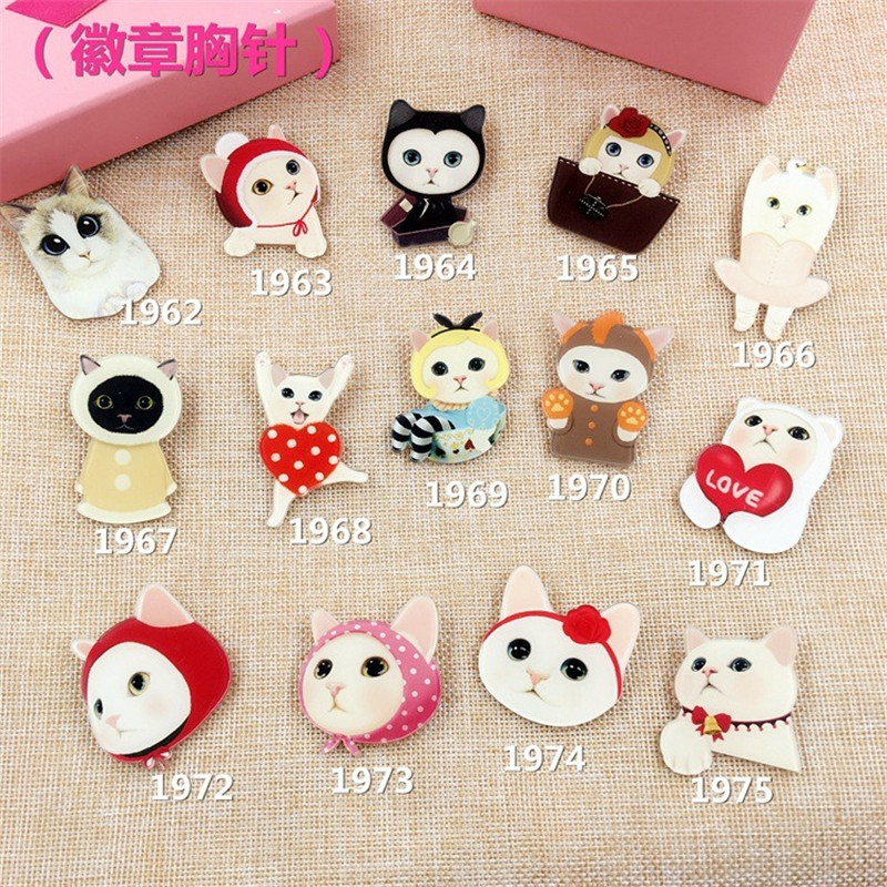 Offbeat Design Jewelry Acrylic HARAJUKU Badge cartoon cat creative costumes Badge Collar Brooches XZ51