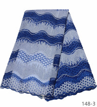Blue African Embroidery Lace Fabric 2019 High Quality Lace Material French Lace Fabric Nigerian Tulle Mesh Lace Fabrics 148 african sequins lace fabric 2019 high quality lace material french lace fabric nigerian tulle mesh lace fabrics 24color 1101