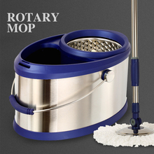 Hand-free mop double drive stainless steel rotating bucket home automatic