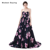 Glamorours A Line Sweetheart Floral Print Evening Dress 2017 Formal Engagement Long Party Prom Gowns Vestido
