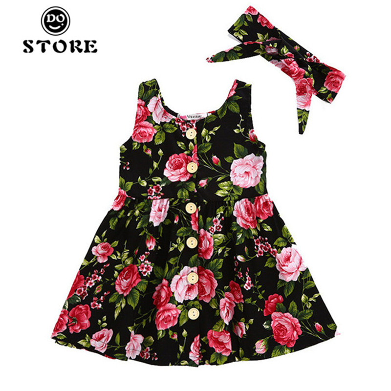 Toddler Infant Kids Baby Girls Summer Floral Dress Princess Party Sleeveless Dresses Sundress Headband Outfits 2 3 4 5 6 Years