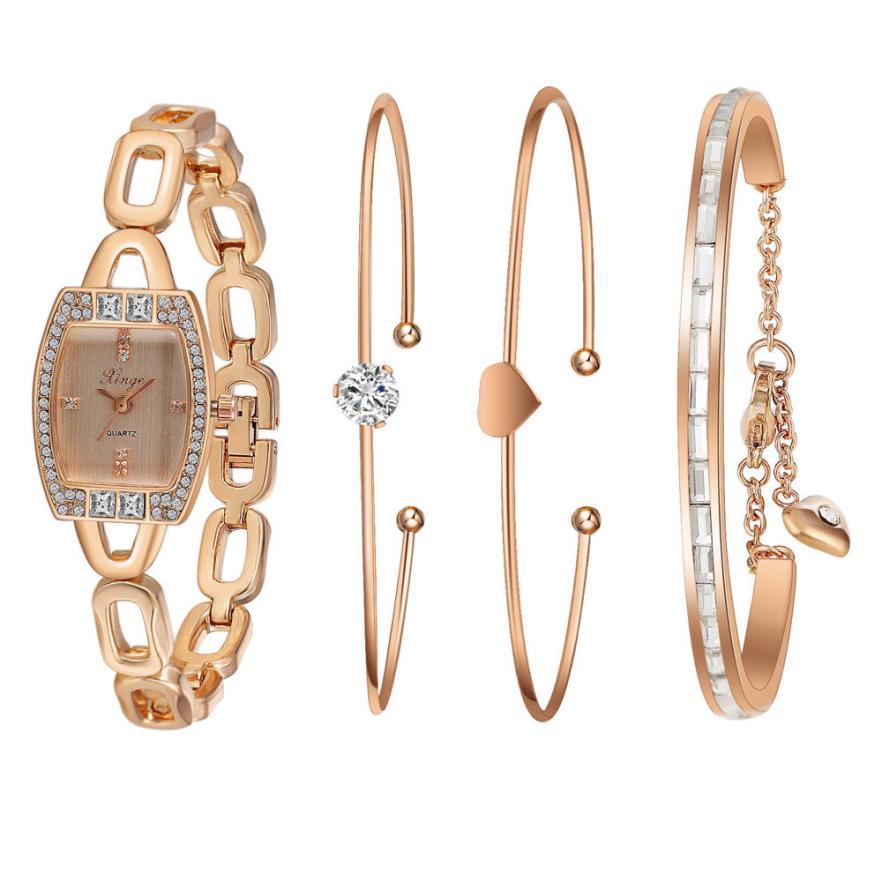 XINGE Women's Watch Women Gold Rhinestone Love Bangle Watch And Bracelet Set 592R Fashion Wristwatch Top Gift JY12 cute love heart hollow out bracelet watch for women