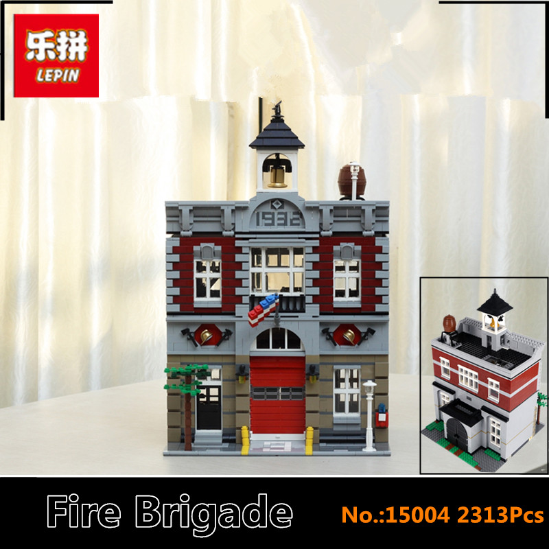 IN STOCK DHL LEPIN 15004 2313Pcs City Street Fire Brigade Model Building Kits Blocks Bricks Compatible 10197 Brick dhl lepin 15004 2313pcs city fire brigade model doll house building kits assembing blocks compatible with legoed 10197