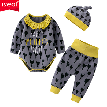 IYEAL Baby Girl Fall Clothes, Newborn Baby 3pcs Clothing Set Long-Sleeved Bodysuits, Pants, Hat 3-18M