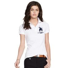INS летние женские рубашки поло с коротким рукавом из хлопка пике с вышитым логотипом в виде большой лошади, модные мужские рубашки с пуговицами