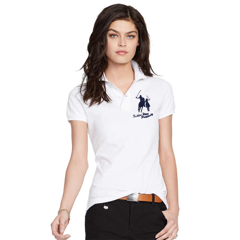イン 2020 夏の女性の半袖 100% ピケコットンビッグ馬の刺繍ロゴスリムポロシャツファッションオムボタン前立て