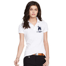 INS 2019 Summer women Short-sleeved 100% Pique cotton big horse embroidery logo slim polo shirts fashion homme button placket(China)