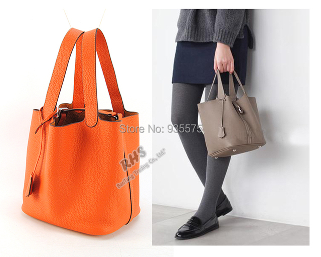 Women Genuine Real Tago Leather Tote Per Ping Bag Purse Handbag Lunch Basket Designer H Key