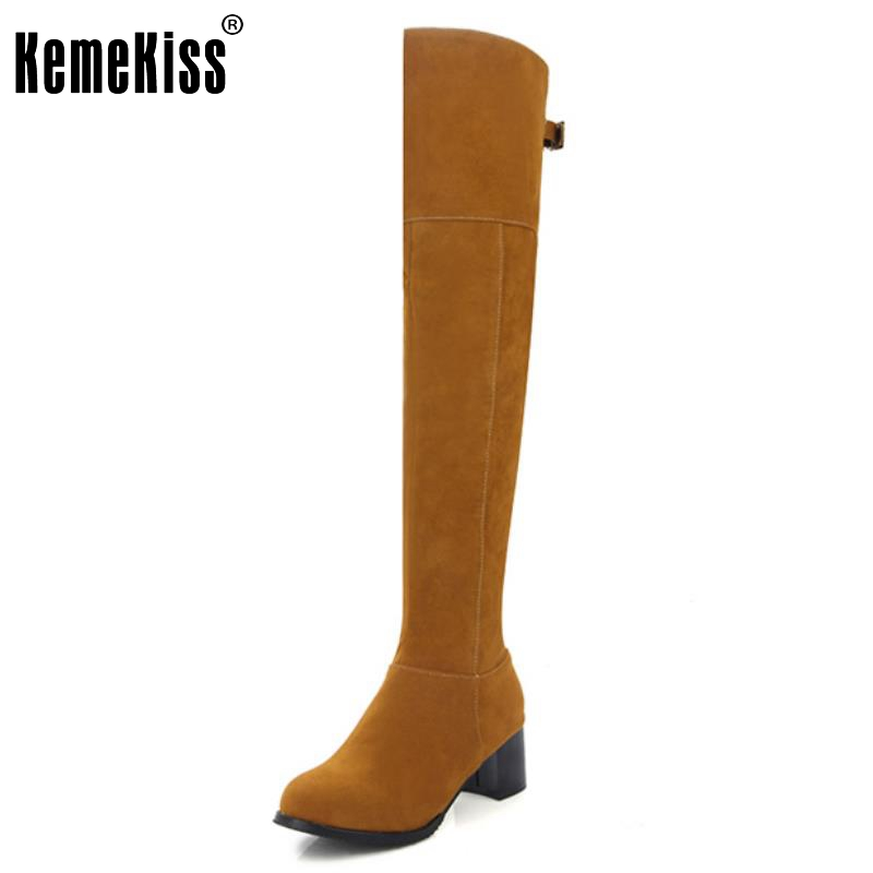 Women Square Heel Over Knee Boots Woman Fashion Round Toe Knight Boot Lady Autumn Winter Heels Shoes Footwear Size 34-43 enmayla winter autumn round toe low heel knee high boots women flats lace up shoes woman rider brown black suede motorcycle boot