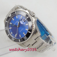 43mm Bliger Blue Dial mens watches top brand luxury in Automatic Watches Stainless steel Case Mechanical Watch
