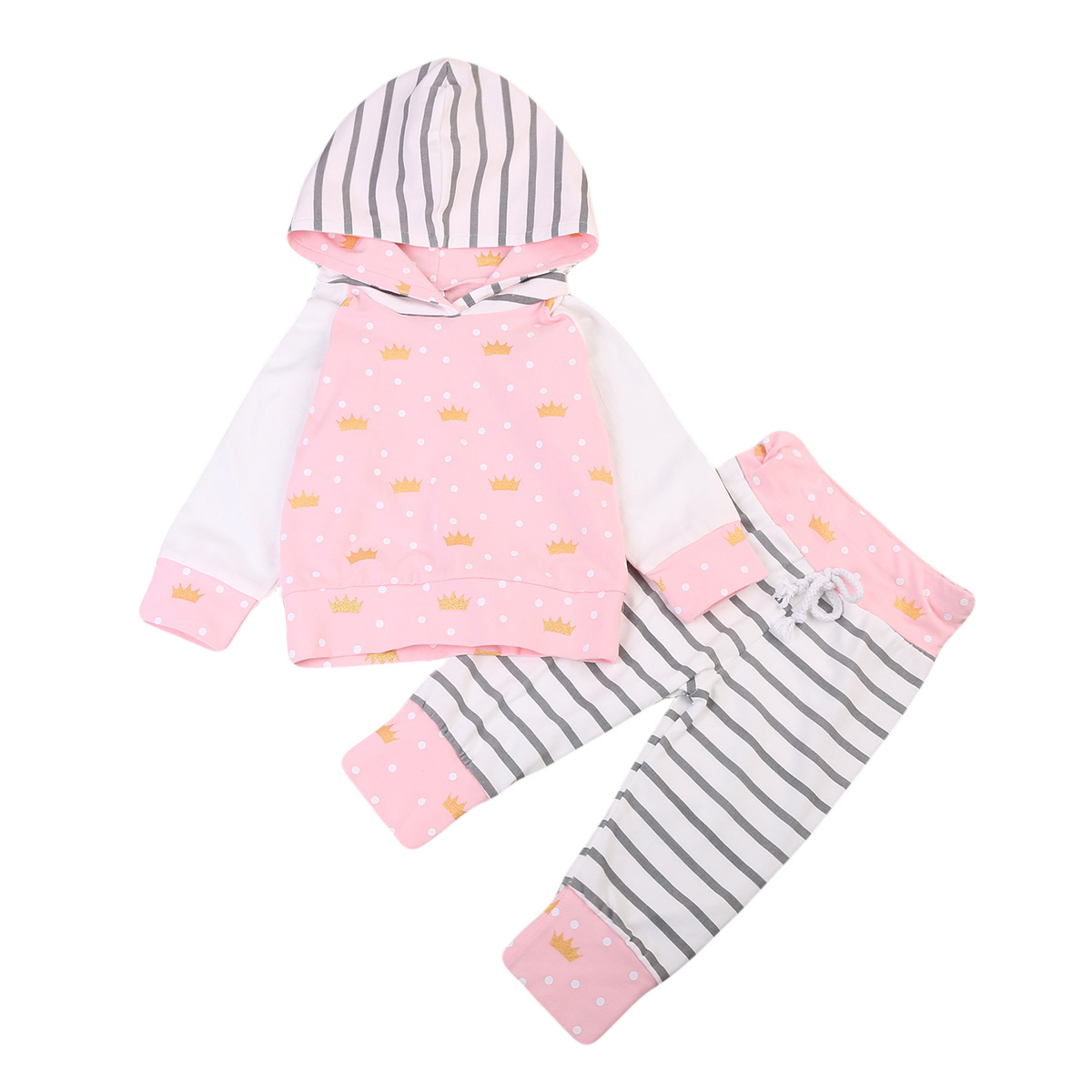 2017 Babies Girl Clothing Casual Toddler Baby Boys Girls Crown Hooded Tops Stripe Pants Outfits Set Clothes 0-3T