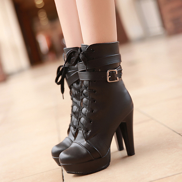 Women's Fashion Lace Up Round Toe High Chunky Heeled Platform Short Ankle High Boots