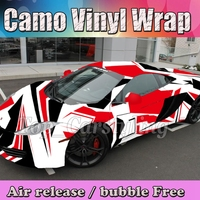 Red Black White Adhesive Camo Vinyl Wrap Camouflage Film With Bubble Free For Car Wrapping Motorcycle