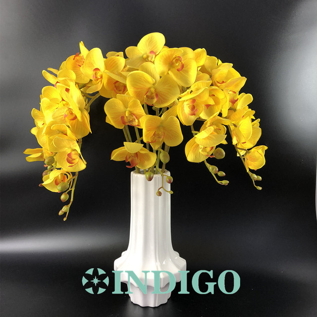 indigo yellow phalaenopsis orchids 7 flower stem real touch