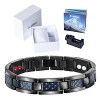Healing Magnetic Bangles Balance Health Bracelets with Carbon Fiber Blue Statement Bracelets Special Design for Male Men Jewelry