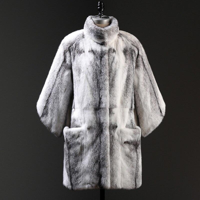 Fansty Long Trimestre De 2019 Croix Dix Manteau S Couleur Femmes Col Y Réel Fourrure Vison Rayé M Contraste Trois Blanc Mandarin UPxIq5Ewn