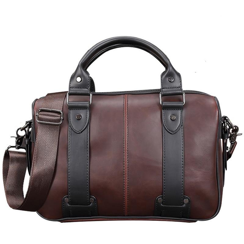 Brand Casual Men Briefcase Crazy Horse Leather Men Messenger Bags Vintage Shoulder Bag Male Laptop Bag Business Bags For Men