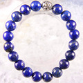 "Free Shipping Silver Stretch 10mm Round Beads Natural Stone Blue Lapis Bracelet 8"" 1Pcs LH1763"