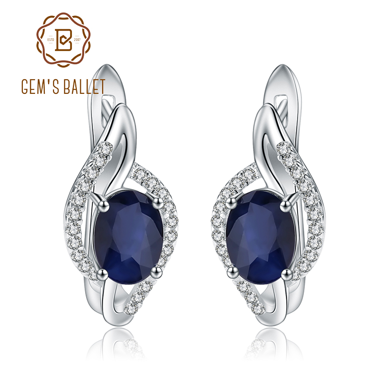 GEM S BALLET 3 32Ct Natural Blue Sapphire Earrings Real 925 Sterling Silver Gemstone Stud Earrings
