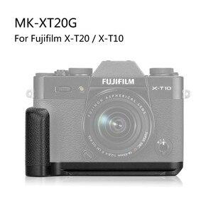 Image 2 - Meike XT20G אלומיניום סגסוגת יד אחיזה שחרור מהיר צלחת סוגר L Fujifilm X T20 X T10 XT 20 מצלמה