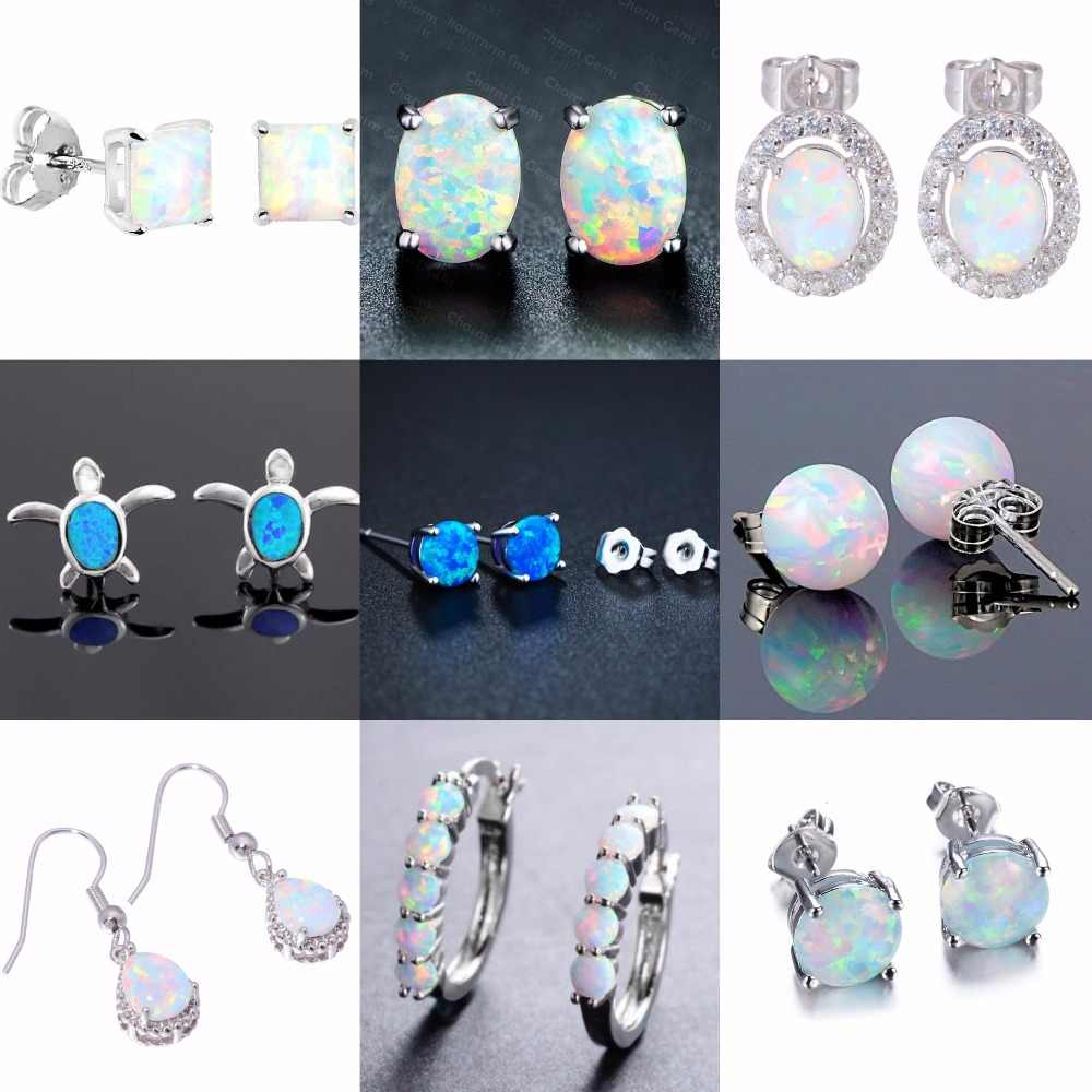 Wholesale & Retail Difference style White Fire Opal Stud Earrings Fashion Jewelry   E5X702