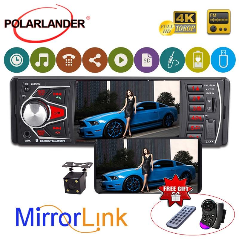 Autoradio 1 DIN Autoradio lecteur cassette miroir lien FM TF USB RDS SD lumières colorées MP5 Bluetooth 4.0 HD 4.1 pouces Audio