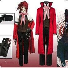 Черный Дворецкий Kuroshitsuji Death Grelle Sutcliff красное пальто рубашка жилет брюки униформа наряд Аниме Косплей A614