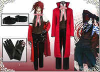 Black Butler Kuroshitsuji Death Grelle Sutcliff Red Coat Shirt Vest Pants Uniform Outfit Anime Cosplay A614