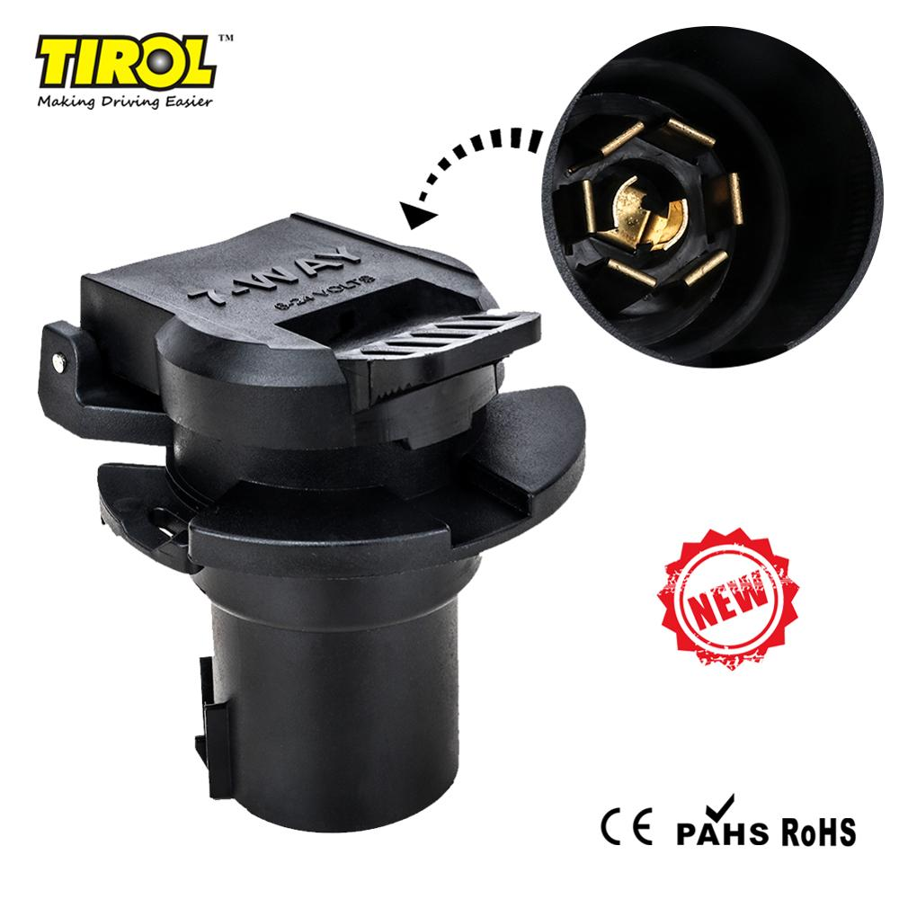 Tirol 7 Way American Trailer Socket 6-24V Blade Female Adapter With PVC Cap Transfer Electronic Signature T25420a Free Shipping