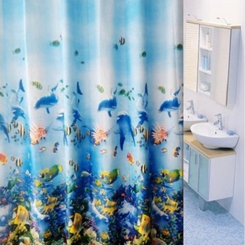 Free Shipping Hot Sell Opaque Curtain High Grade Waterproof Mildew Trade Shower Thickening Ocean Blue Series 180180