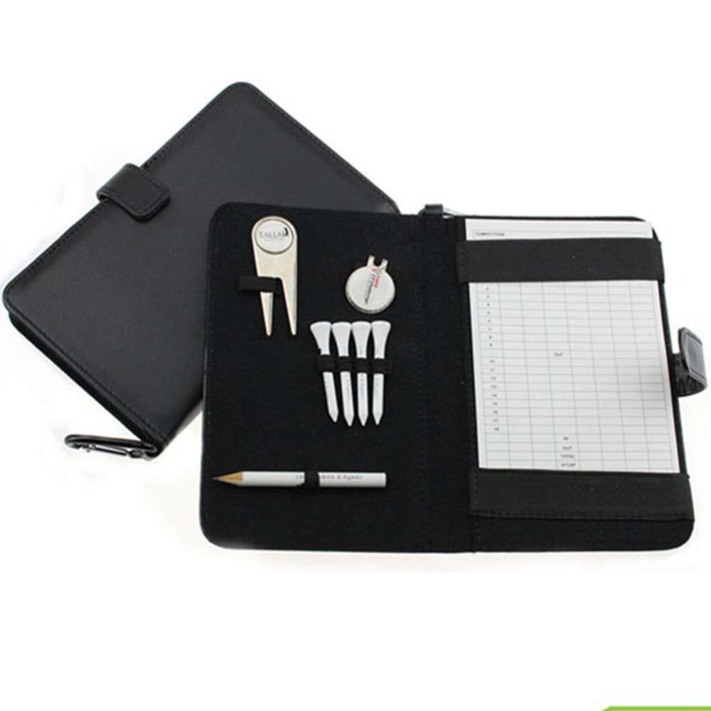 Golf Score Card Holder PU Cover with Pencil /Divot Tool/ Golf Tees/ Hat Clip free shippng