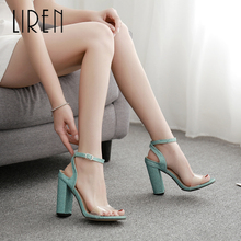 Liren Summer 2019 New Fashion Women Buckle Sandals Transparent High Square Heels Round Toe Comfortable Lady Size 35-42