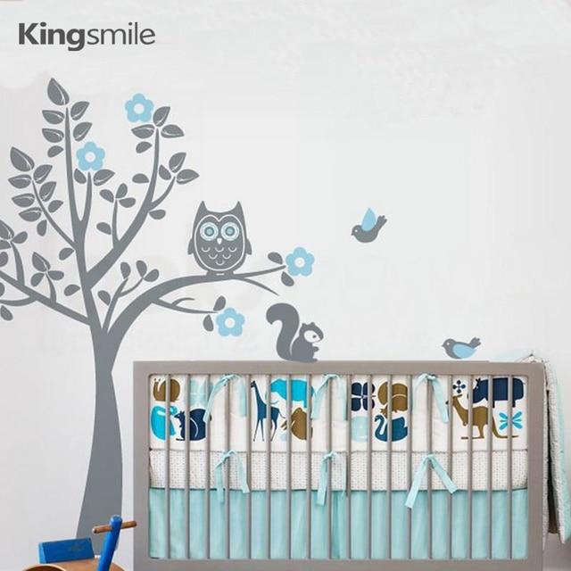 Modern Owl Flower Tree Wall Sticker Nursery Tree Branch Birds Squirrel 3d  Art Decals Stickers For Part 53
