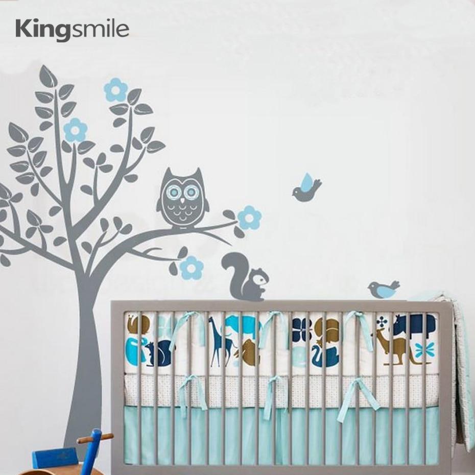Boom Met Uil Babykamer.Uil Eekhoorn Boom Bloem Kwekerij Muur Art Sticker Moderne