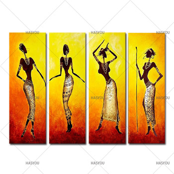 HandPainted Abstract Oil Painting Home Decor Wall Art Modern Colorful African dancer gold oil Paintings 4 Panel Pictures Sets