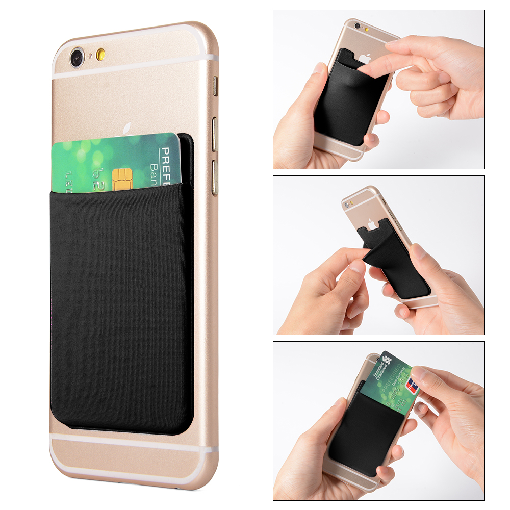 2pcs Elastic Lycra Cell Phone Wallet Case Credit ID Card Holder Pocket Stick On 3M Adhesive Black AC418+