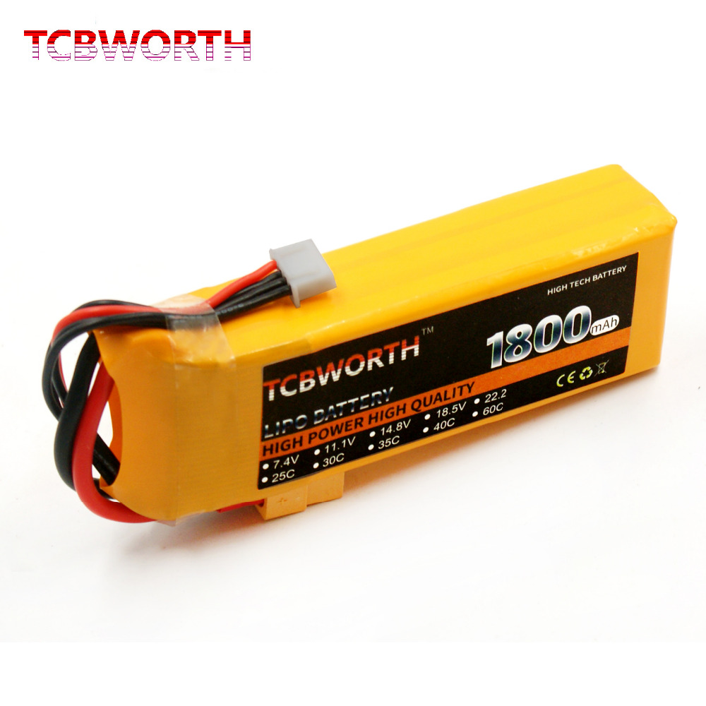 TCBWORTH 3S 11.1V 1800mAh 30C-60C RC LiPo battery For RC Airplane Drone Helicopter Quadrotor High Rate Cell RC Li-ion battery tcbworth 11 1v 3300mah 60c 120c 3s rc lipo battery for rc airplane helicopter quadrotor drone car boat truck li ion battery