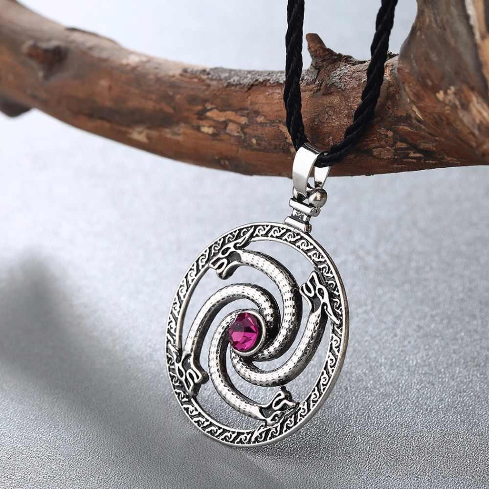 CHENGXUN Norse viking dragons naszyjnik mężczyźni czerwony kamień Amulet słowiańskie starożytne runy zwierząt oryginalna biżuteria talizman