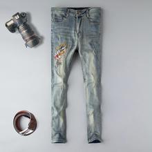 купить 2019 Straight jeans men 3d embroidery cotton elastic brand male denim trousers sky blue homme full length plus size 29-38 jeans дешево