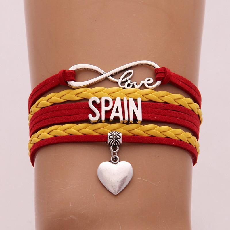 Drop Shipping Unisex Infinity love National Flag Spain Bracelet heart Charm leather bracelet & bangles for Women Men jewelry